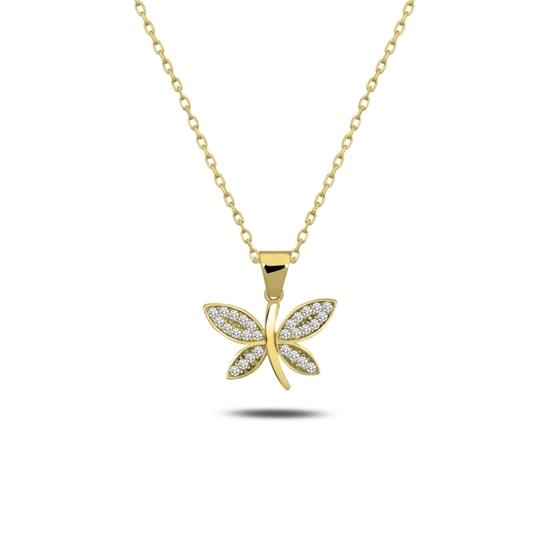 Ürün resmi: Altın Kaplama Yusufçuk Zirkon Taşlı Gümüş Bayan Kolye