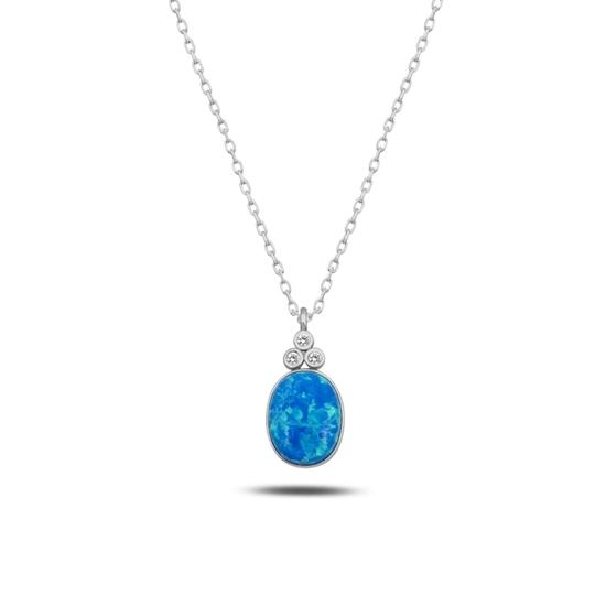 Ürün resmi: Rodyum Kaplama Opal & Zirkon Taşlı Gümüş Bayan Kolye