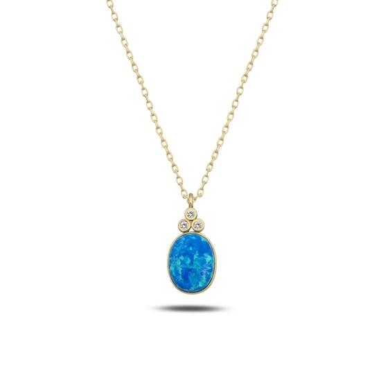 Ürün resmi: Altın Kaplama Opal & Zirkon Taşlı Gümüş Bayan Kolye