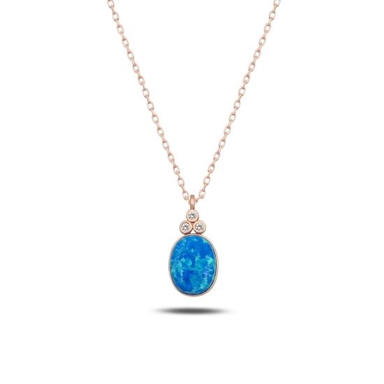 Ürün resmi: Rose Kaplama Opal & Zirkon Taşlı Gümüş Bayan Kolye