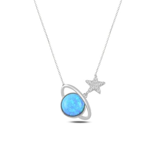Ürün resmi: Rodyum Kaplama Satürn Opal & Zirkon Taşlı Gümüş Bayan Kolye