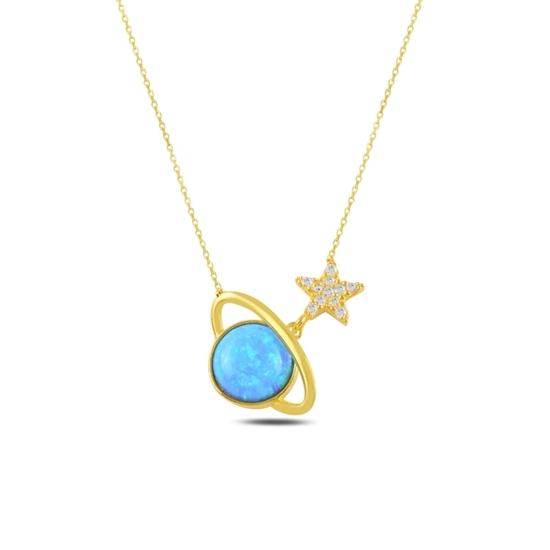 Ürün resmi: Altın Kaplama Satürn Opal & Zirkon Taşlı Gümüş Bayan Kolye