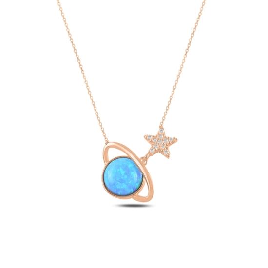 Ürün resmi: Rose Kaplama Satürn Opal & Zirkon Taşlı Gümüş Bayan Kolye