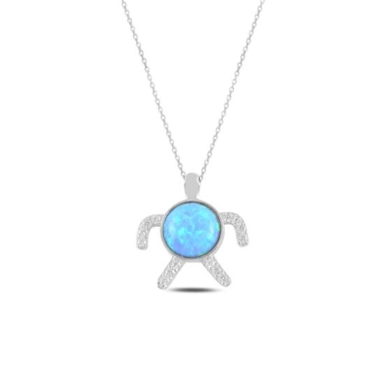 Ürün resmi: Rodyum Kaplama Kaplumbağa Opal & Zirkon Taşlı Gümüş Bayan Kolye