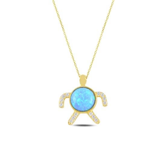 Ürün resmi: Altın Kaplama Kaplumbağa Opal & Zirkon Taşlı Gümüş Bayan Kolye
