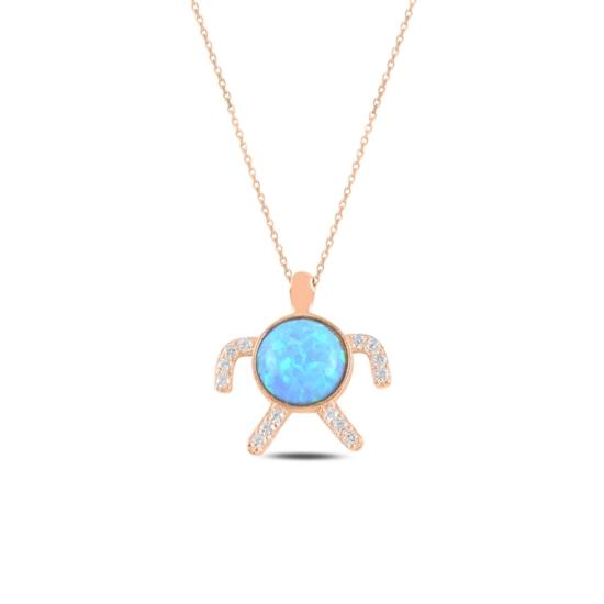 Ürün resmi: Rose Kaplama Kaplumbağa Opal & Zirkon Taşlı Gümüş Bayan Kolye