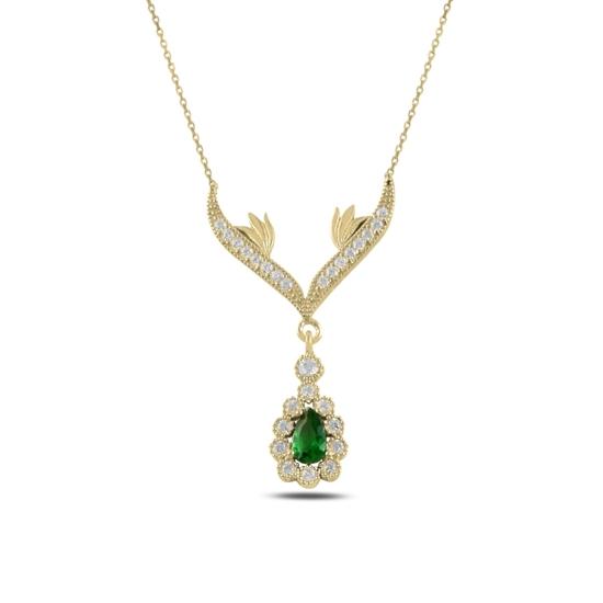 Ürün resmi: Altın Kaplama Zirkon Taşlı Sallantılı Gümüş Bayan Kolye