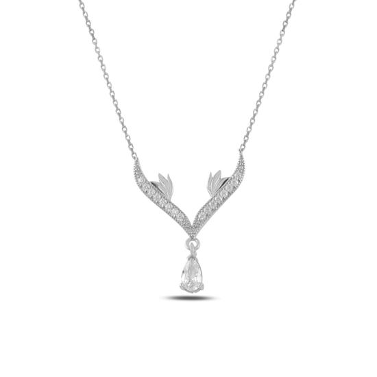 Ürün resmi: Rodyum Kaplama Zirkon Taşlı Sallantılı Gümüş Bayan Kolye