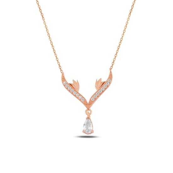 Ürün resmi: Rose Kaplama Zirkon Taşlı Sallantılı Gümüş Bayan Kolye