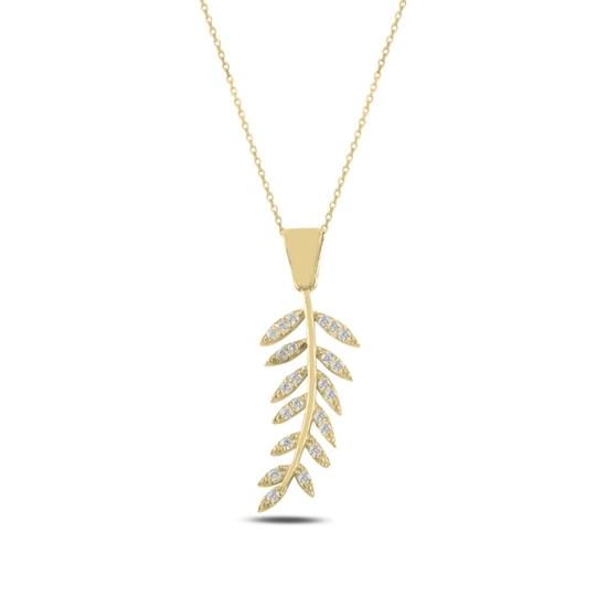 Ürün resmi: Altın Kaplama Zeytin Dalı Zirkon Taşlı Gümüş Bayan Kolye