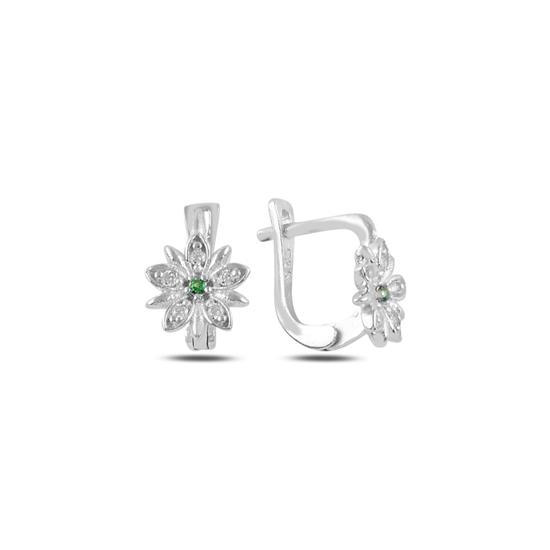 Ürün resmi: Zümrüt Zirkon (Yeşil) Çiçek Zirkon Taşlı Gümüş Kız Çocuk Küpe
