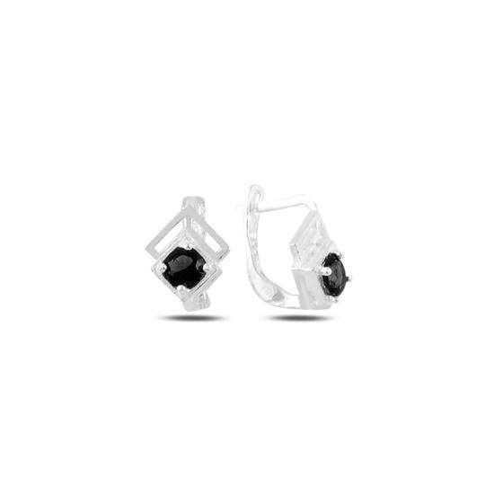 Ürün resmi: Siyah Zirkon Zirkon Taşlı Gümüş Kız Çocuk Küpe