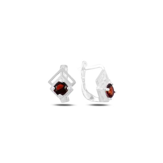 Ürün resmi: Garnet Zirkon (Kırmızı) Zirkon Taşlı Gümüş Kız Çocuk Küpe