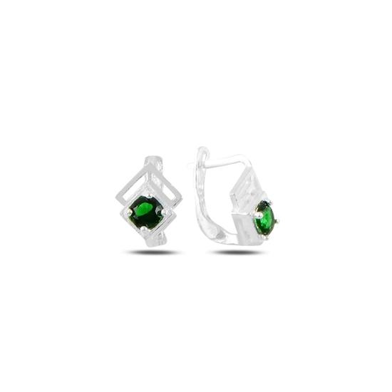 Ürün resmi: Zümrüt Zirkon (Yeşil) Zirkon Taşlı Gümüş Kız Çocuk Küpe