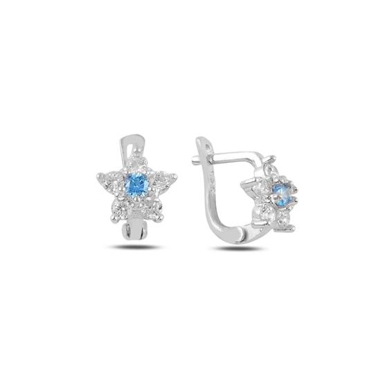 Ürün resmi: Akuamarin Zirkon (Açık Mavi) Yıldız Zirkon Taşlı Gümüş Kız Çocuk Küpe