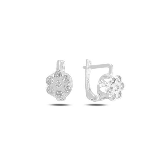 Ürün resmi: Beyaz Zirkon Çiçek Zirkon Taşlı Gümüş Kız Çocuk Küpe
